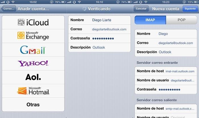 Configurando una cuenta IMAP de Outlook