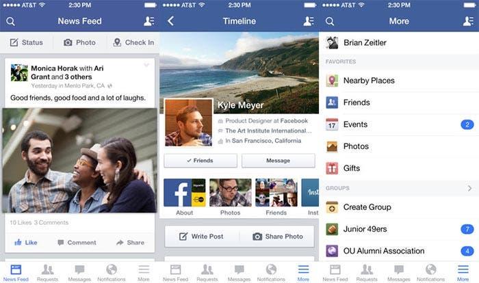 Facebook en iOS 7
