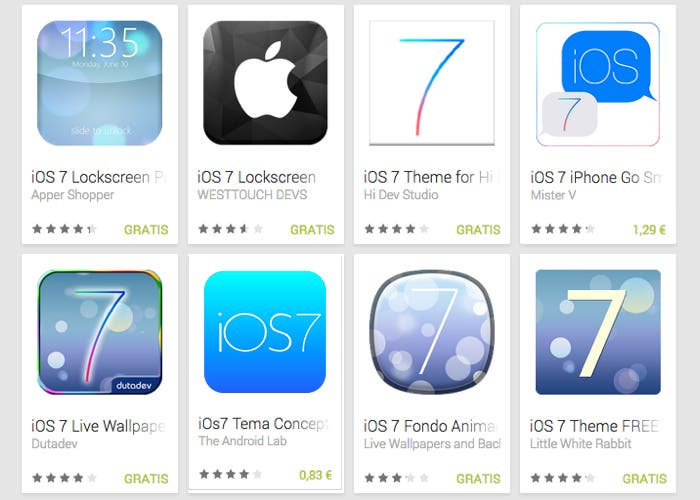 Al buscar iOS 7 en Google Play