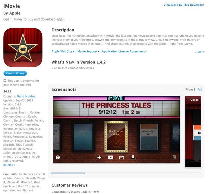 iMovie para iOS en la App Store