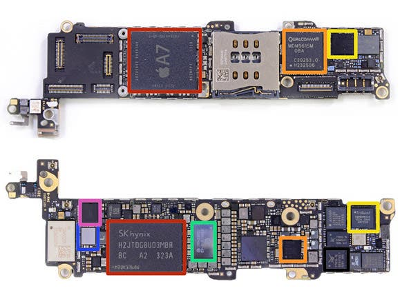 Distribución de la placa base iPhone 5s