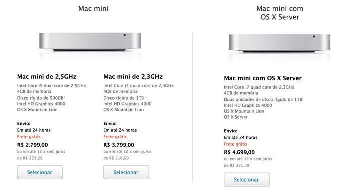 Nuevos precios de la Mac mini en Brasil