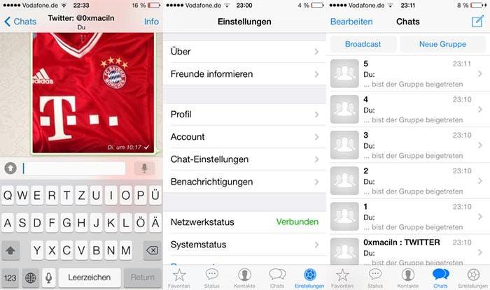 Capturas de WhatsApp en iOS 7
