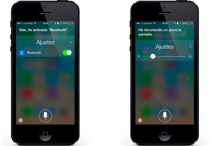 Ajustes de Bluetooth y brillo mediante Siri