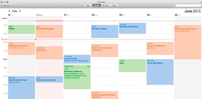 Captura de Calendario en OS X