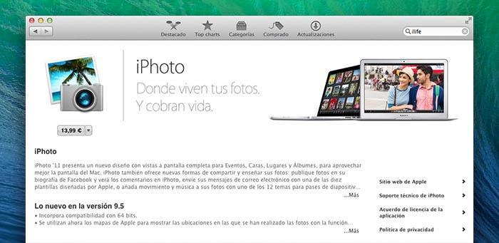 iPhoto en la Mac App Store