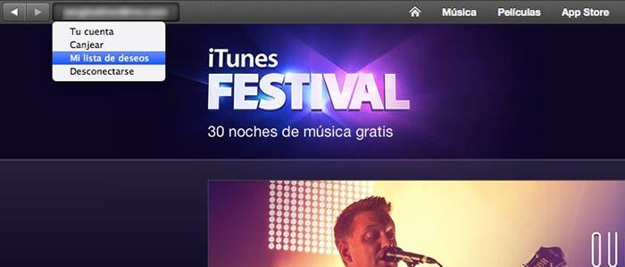 Lista deseos tienda música Apple