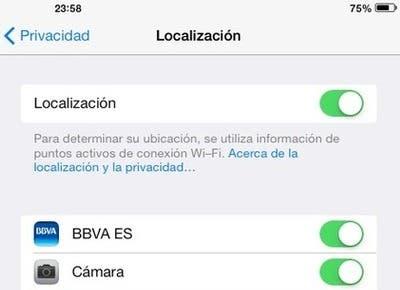 iOS 7 desactivación de servicios de localización