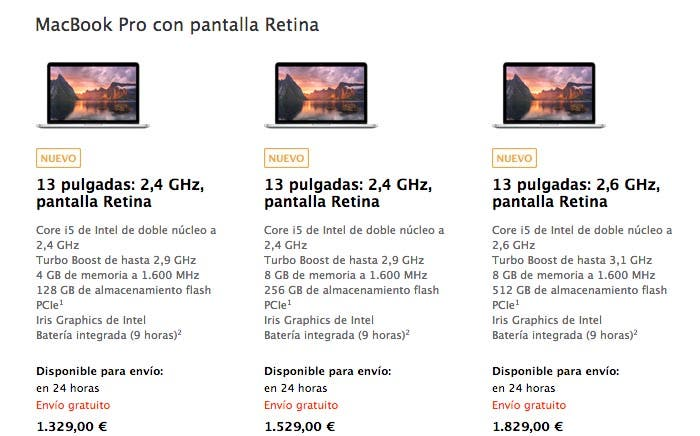 MacBook Pro Retina de 13 pulgadas en la Apple Store