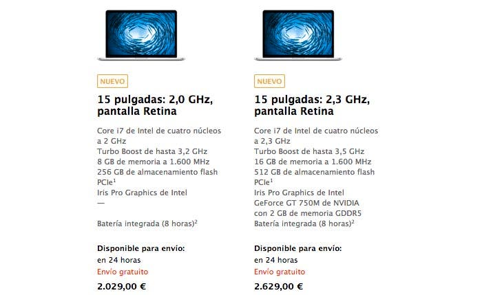 MacBook Pro Retina de 15 pulgadas en la Apple Store
