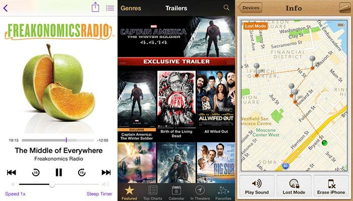 Actualización de Podcasts, Trailers y Find my iPhone