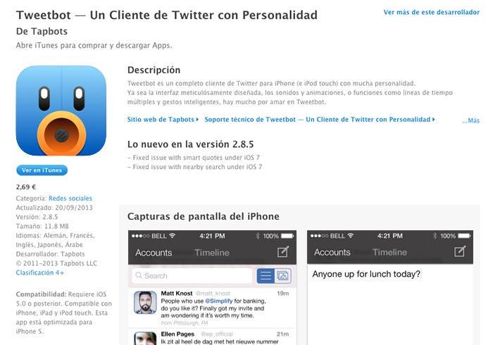 Mockup de Tweetbot en iOS 7