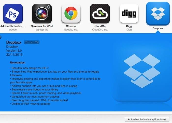 Dropbox para iOS 7 en iTunes