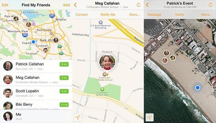 Capturas de Find my Friends para iOS 7