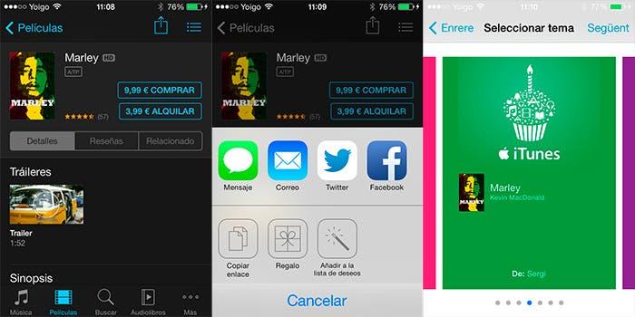 Regalar música, películas o libros en iOS