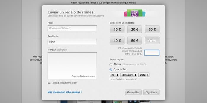 Enviar dinero a Apple ID con iTunes Store