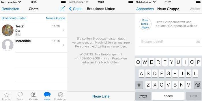Interfaz de WhatsApp para iOS 7