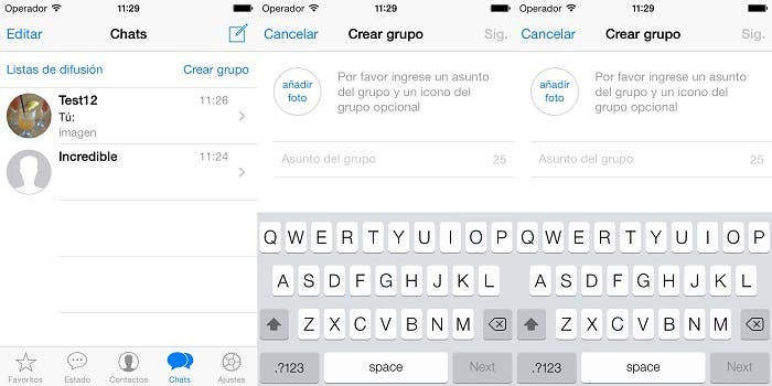 Interfaz de WhatsApp para iOS 7