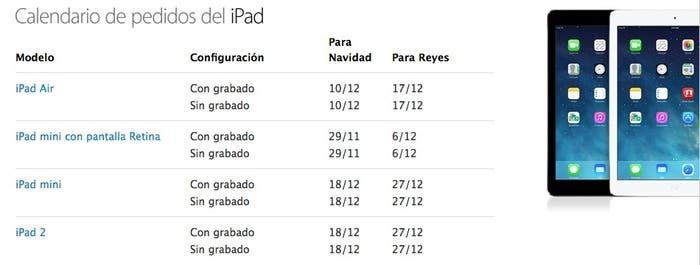 Calendario envío en festividades para iPad
